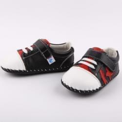 Freycoo - botičky s koženou podrážkou Marion- černo/červené
