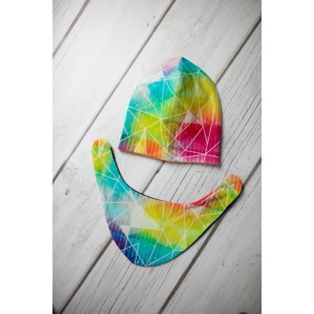 Babysoul - dětská oboustranná čepice - Triangles-Yellow