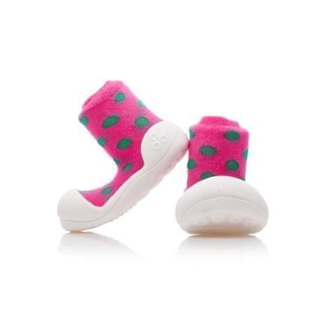 Attipas první botičky - barefoot botičky - model  Polka Pink 1ecb8da241