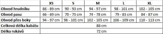 Tabulka velikostí DIVA MILANO zimní